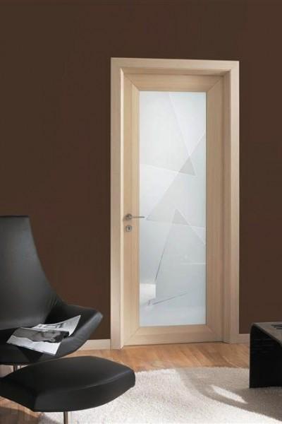 porta interna diamond in rovere sbiancato e vetro