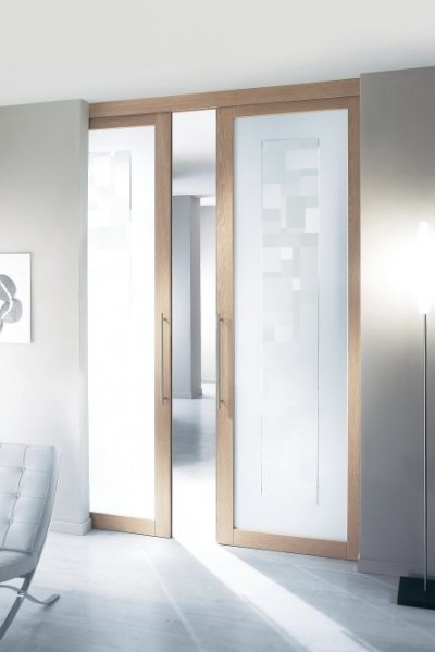 Porte interne square in rovere sbiancato e vetro
